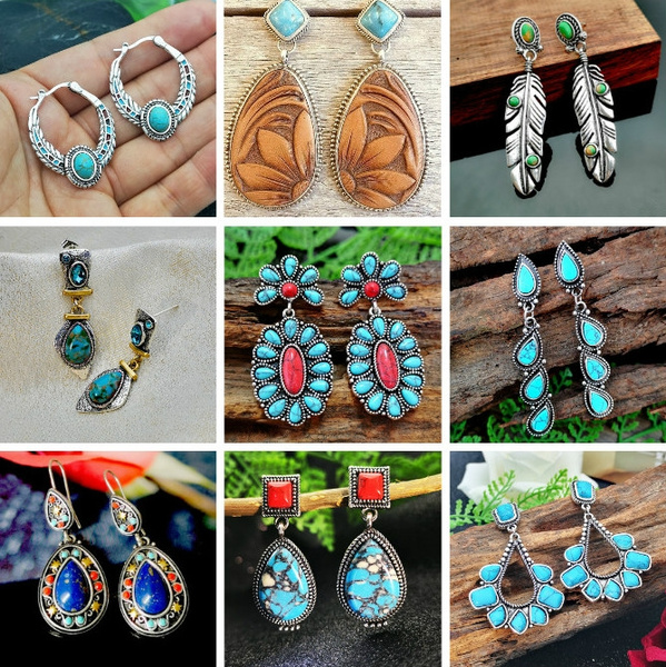 Sterling, Turquoise, Gemstone Earrings, vintage earrings