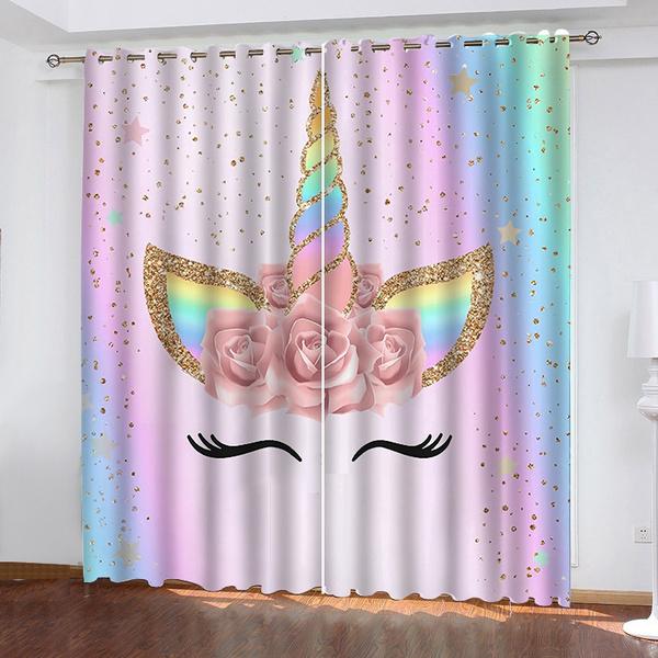 unicorncurtain, rainbow, Flowers, Waterproof