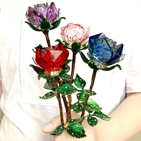 Glass Crystal Flower Rose Valentine Gifts Artificial flower Wedding Ornament