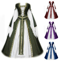 Zainafacai Vintage Dress,Womens Costume Retro Gown Cosplay Costumes Flare Long Dress