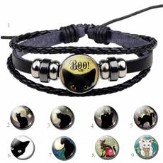 black bracelet, halloweenbracelet, glassbracelet, halloweengift