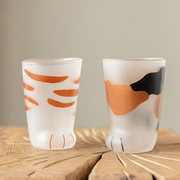 Cat Claw Cup Milk Glass Frosted Glass Cup Cute Cat Foot Claw Print Mug Cat Paw Coffee Kids Milk Glass Cups Tumbler Personality Breakfast Milk Porcelain Cup Wish