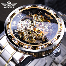 Steel, diamondwatchesformen, Fashion, Skeleton