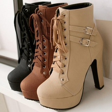 ankle boots, combat boots, Plus Size, Leather Boots