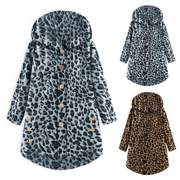 winterjacke, Jacket, Leopard, hooded