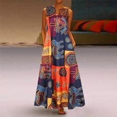 sleeveless, printeddre, long dresses, long dress