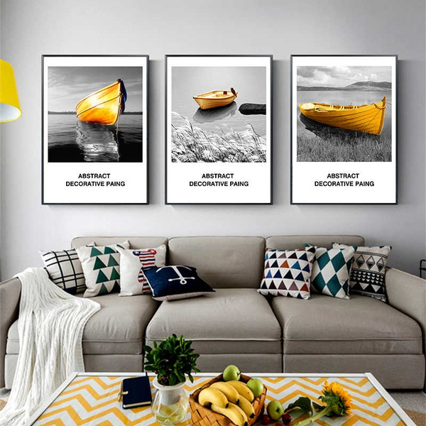 Abstract Yellow Boat Wall Art Canvas Painting Black White Sea Landscape Nordic Poster Print Picture For Living Room Home Decor Wish