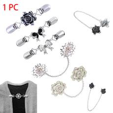 brooches, Pins, retrocarvedflowercollarclip, rhinestonedecorationclasp