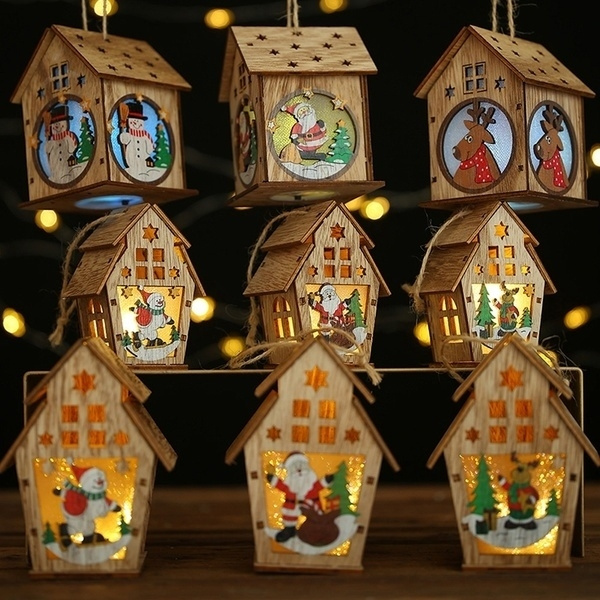 cute, Decor, woodenhouselamp, lednightlight