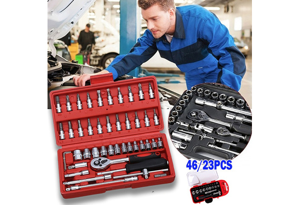 Tool Set Hand Tools For Car Repair Ratchet Spanner Wrench Socket Set Professional Bicycle Car Repair Tool Kits Color : Set7, Size : A
