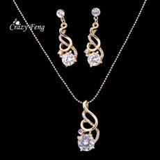weddingnecklaceearring, Jewelry Set, Fashion, goldplated