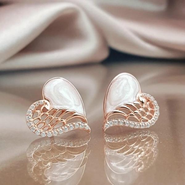 Sterling, DIAMOND, Angel, Stud Earring