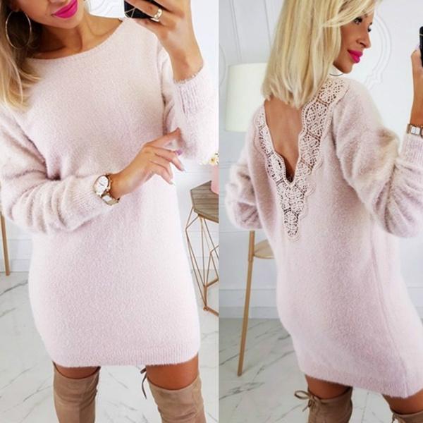autumnwinter, Plus Size, sweater dress, Lace