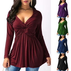 Deep V-Neck, blouse, Plus Size, Waist