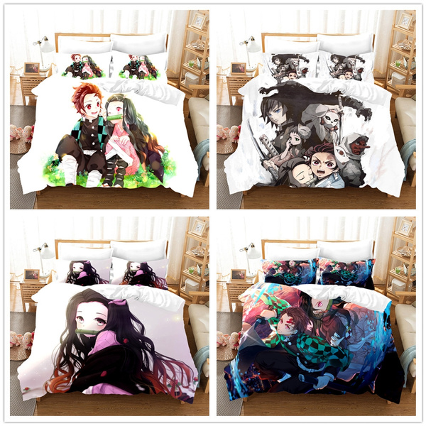 Iuqyzqzaza Demon Slayer Kimetsu No Yaiba Soft Microfiber 3-Piece Bedding Set Bed Sheets Cover Comforter Pillowcases Adults Kids