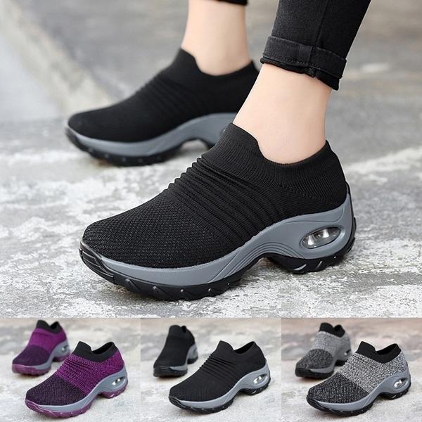 Ohbiger Womens Walking Shoes Slip on Sock Sneakers Lady Girls Nurse Mesh Air Cushion Platform Loafers Fashion Casual