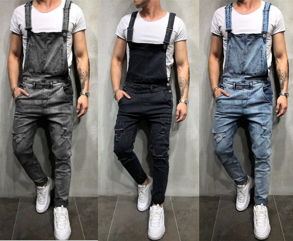 suspenders, ripped, pants, distressed
