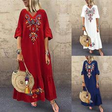 Summer, ruffle, long dress, Vestidos