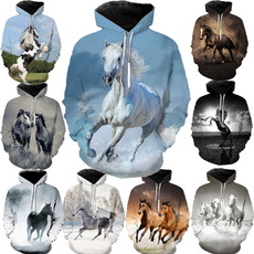 horsehoodie, 3D hoodies, horseprint, hooded