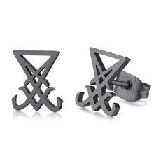 luciferjewelry, Steel, stainlesssteelstudearring, luciferearring
