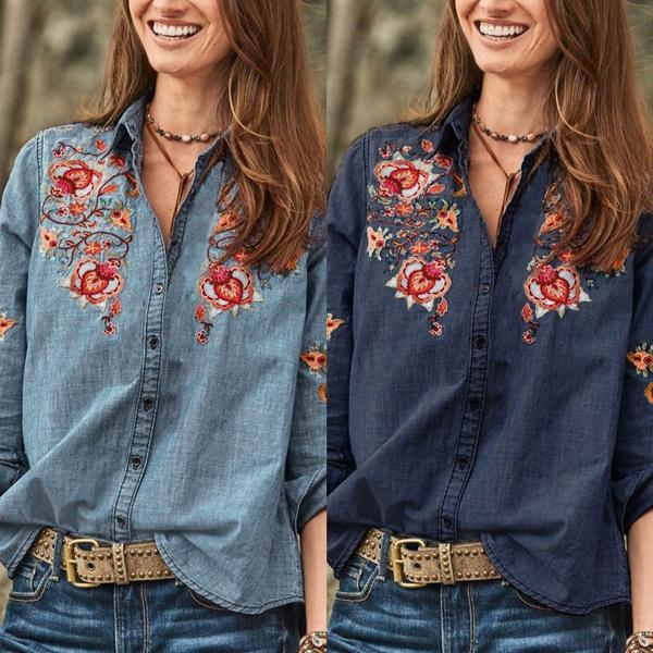 Blues, blouse, Fashion, Floral print