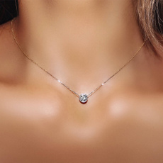 Cubic Zirconia, Jewelry, gold, necklace for women