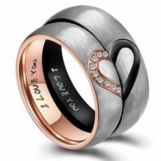 Couple Rings, Steel, Heart Shape, titanium steel