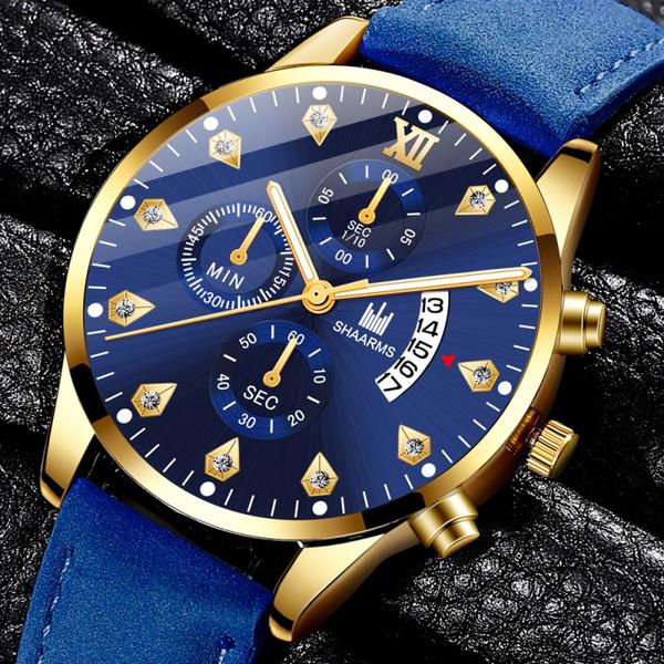 quartz, leather strap, Men, Watch