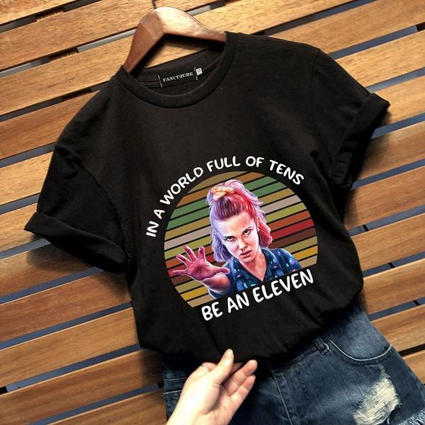 Funny T Shirt, letter print, strangerthingsshirt, short sleeves