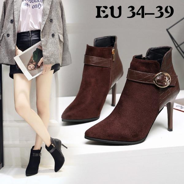ankle boots, spikedshoe, suedebelt, High Heel Shoe