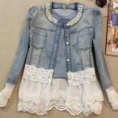 Moda, chiffon, Coat, denim jacket