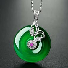 Necklace, amuletpendant, greenjade, Jewelry