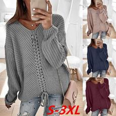 Women Sweater, Knitting, Necks, Sleeve