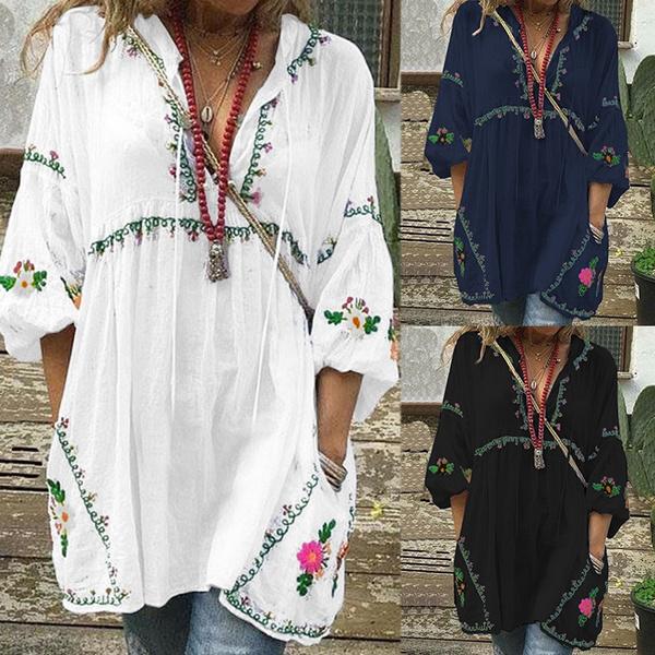 printedtop, Fashion, long shirt, vnecktop