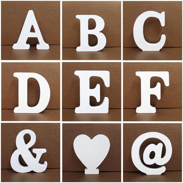 1pc 10cmx10cm White Wooden Letter English Alphabet Diy Personalised Name Design Art Craft Free Standing Heart Wedding Home Decor Wish