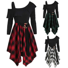 Plus Size, GOTHIC DRESS, Fashion, Plaid Dress