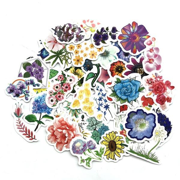 flowersticker, Waterproof, stickersforluggage, Stickers