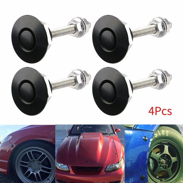 Black Bumper Release Push Button for Hood Bumper or DIY Monrand Quick Release Latch,Universal 1.25 Aluminum Alloy Car Hood Pins Lock Clip