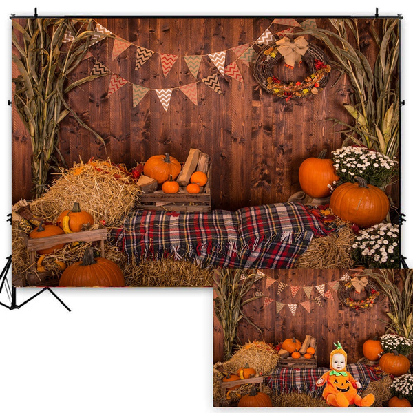 DORCEV 9x6ft Happy Birthday Photography Backdrop Autumn Maple Leaves Harvest Pumpkins Background Our Little Pumpkin is on The Way Birthday Party Kids Portraits Photo Studio Props