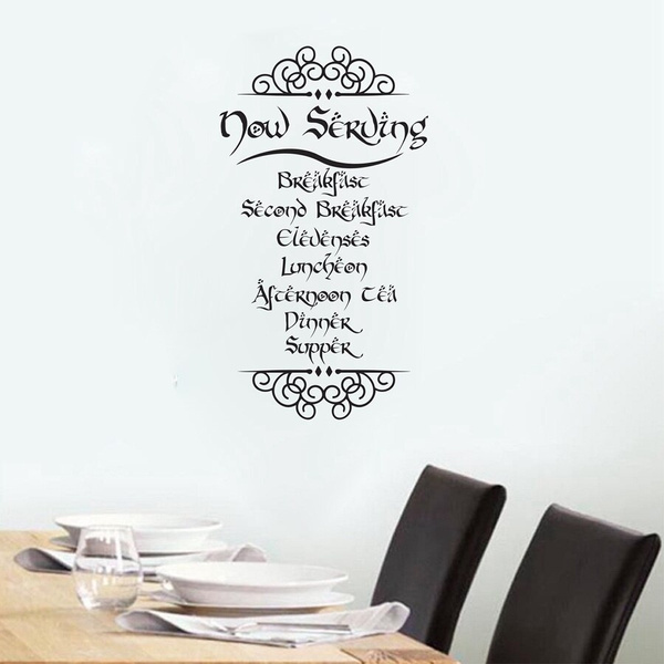 The Hobbit Tolkien Inspired Meal Quotes Vinyl Wall Sticker Decals Kitchen Room Art Decals Mural Decoration Wish