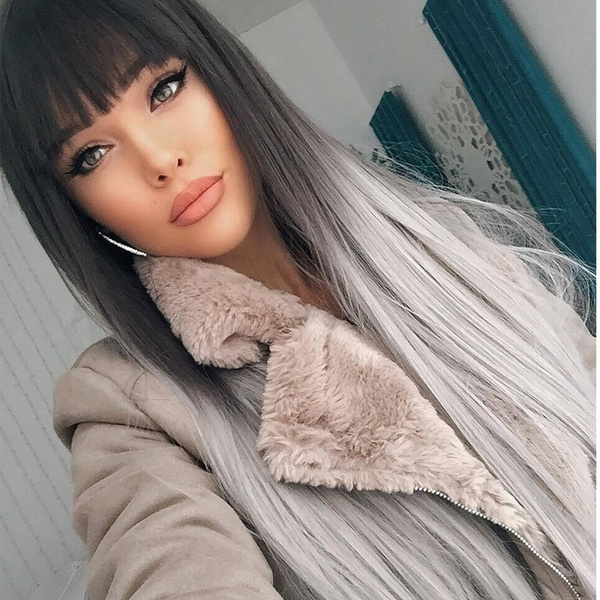 wig, brown, Fiber, human hair