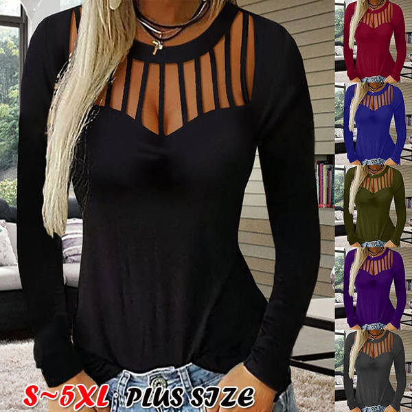 Plus Size, Sexy Top, Hollow-out, Long Sleeve
