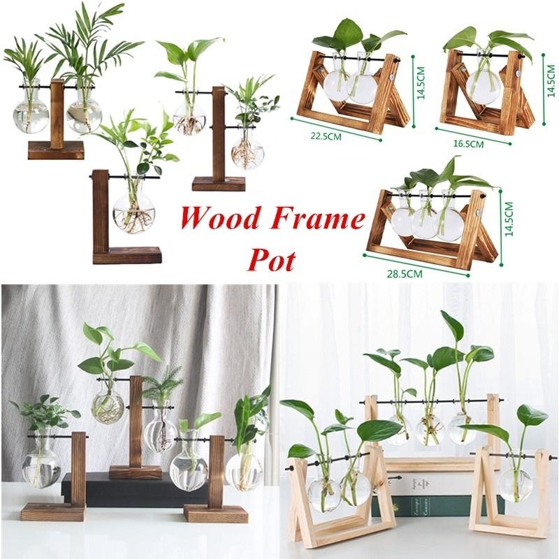 Terrarium Tabletop Flower Pot Wooden Frame Hydroponic Plant Vases Glass Vase