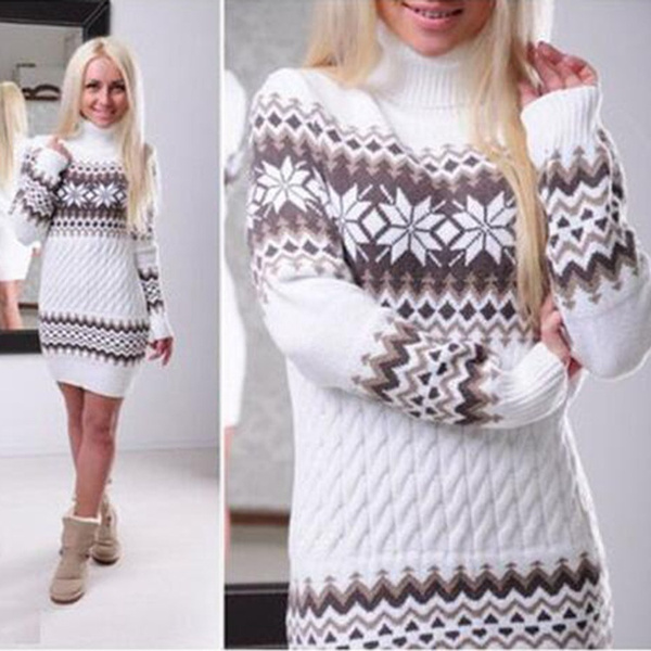 Fashion Women's Christmas Turtleneck Sweater Dress Long Snowflake Pullover Knitted Dress | Wish