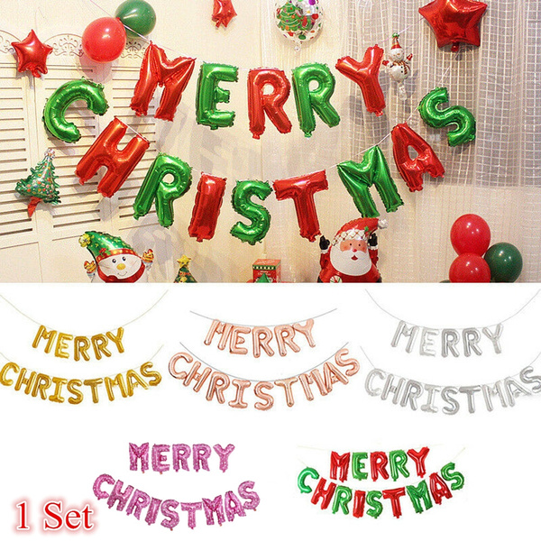 Merry Christmas  Banner Party Balloons Rose Gold  Balloon New Year Gold Balloons Silver CHRISTMAS IN FAMILY Christmas Balloons
