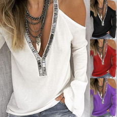 blouse, Deep V-Neck, Plus Size, long sleeve blouse
