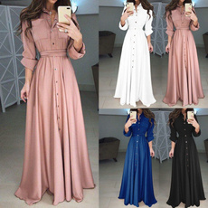 buttondres, Plus Size, European And American Fashion, long dress