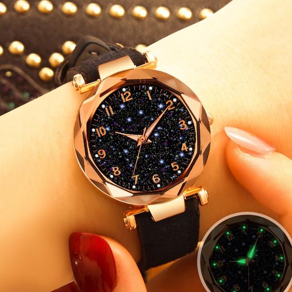 quartzwatchforwomen, starryskywatch, leatherstrapwatch, Ladies Watches
