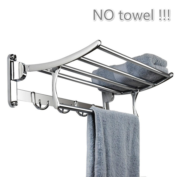 owhelmlqff Convenient and Durable Stainless Steel Wall Mounted Hotel Bathroom Towel Rack Rail Holder Storage Shelf