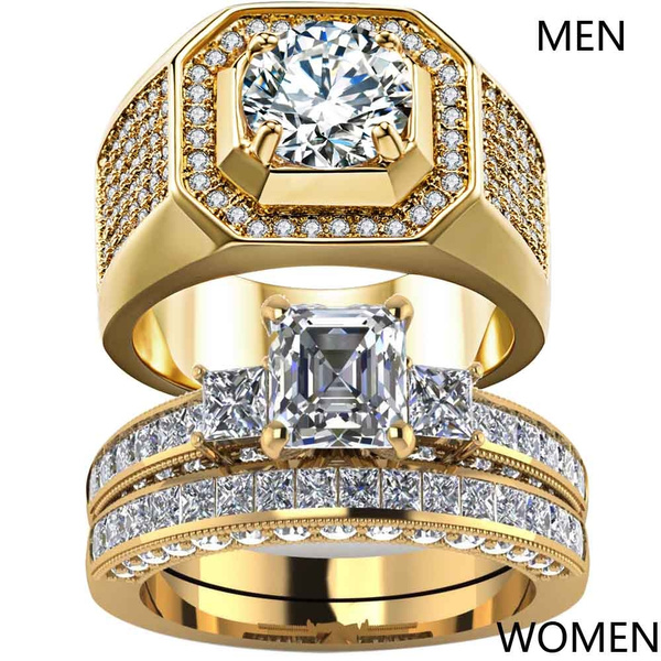 Couple Rings, yellow gold, czring, wedding ring